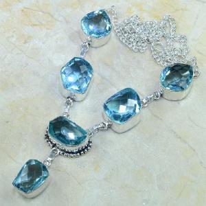 Tpz 055d collier parure sautoir topaze bleue bijou argent 925 vente achat