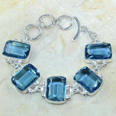 TPZ-061 - BRACELET avec TOPAZE Bleue Iolite monture en argent 925 - 20 cm - 207 carats 41,4 gr
