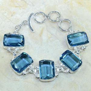 Tpz 061d bracelet topaze bleue bijou argent 925 vente achat