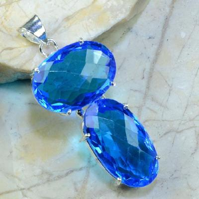 TPZ-063 - PENDENTIF 65 mm avec grosse TOPAZE Bleue Gemme - monture en argent 925 - 110 carats 22 gr