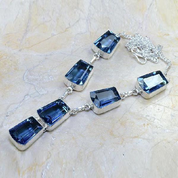 TPZ-070 - COLLIER, SAUTOIR, PARURE avec TOPAZE Bleue - monture argent 925  - 205 carats 41 gr