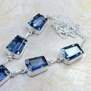 Tpz 070b collier parure sautoir topaze iolite bleue bijou argent 925 vente achat