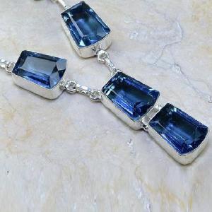 Tpz 070c collier parure sautoir topaze iolite bleue bijou argent 925 vente achat