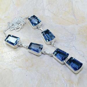 Tpz 070d collier parure sautoir topaze iolite bleue bijou argent 925 vente achat