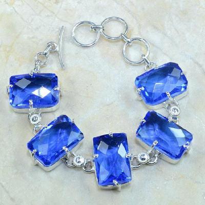 TPZ-072 - BRACELET avec TOPAZE Bleue Iolite monture en argent 925 - 20 cm - 164 carats 32.8 gr