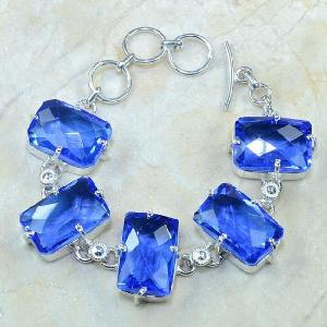 Tpz 072b bracelet topaze iolite bleue bijou argent 925 vente achat