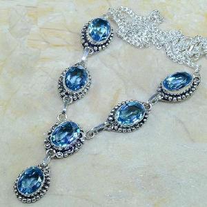 Tpz 073a collier parure sautoir topaze iolite bleue bijou argent 925 vente achat