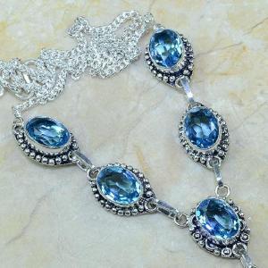 Tpz 073b collier parure sautoir topaze iolite bleue bijou argent 925 vente achat