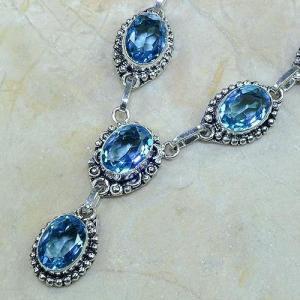Tpz 073c collier parure sautoir topaze iolite bleue bijou argent 925 vente achat