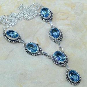 Tpz 073d collier parure sautoir topaze iolite bleue bijou argent 925 vente achat