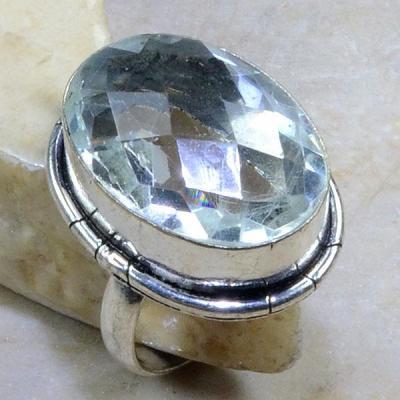 TPZ-075 - BAGUE T 58 avec TOPAZE Blanche Cristal - monture en argent 925 - 62 carats 12,4 gr