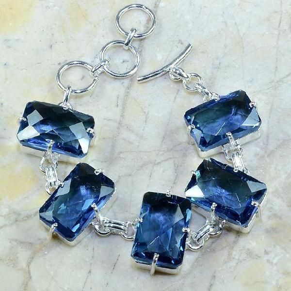 Tpz 079a bracelet topaze iolite bleue bijou argent 925 vente achat 1