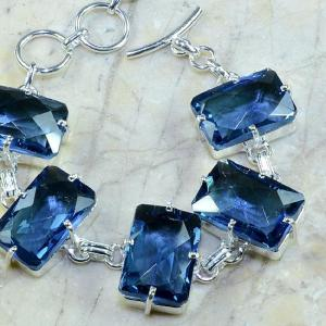 Tpz 079c bracelet topaze iolite bleue bijou argent 925 vente achat