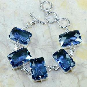 Tpz 079d bracelet topaze iolite bleue bijou argent 925 vente achat