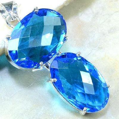 Tpz 087c pendentif pierre topaze bleue gemme taille bijou argent 925 vente achat