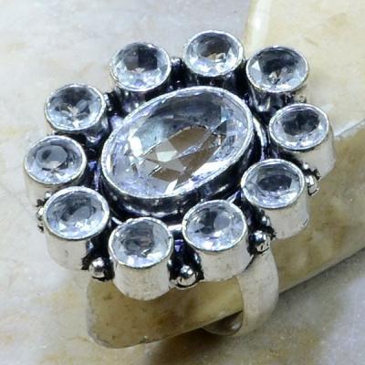 Tpz 093a bague t58 topaze blanche cristal roche bijoux argent 925 vente achat