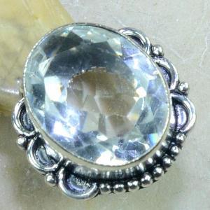 Tpz 094b bague t58 topaze blanche cristal roche bijoux argent 925 vente achat