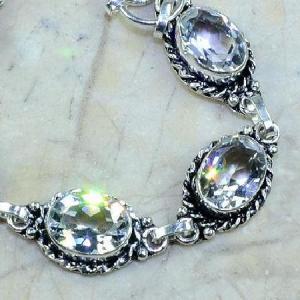Tpz 097c bracelet topaze blanche cristal bijou argent 925 vente achat