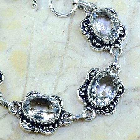 TPZ-098 - BRACELET avec TOPAZE Blanche cristal - monture en argent 925 - 20 cm - 109 carats 21,8 gr