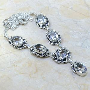 Tpz 099a collier sautoir parure topaze blanche cristal bijou argent 925 vente achat