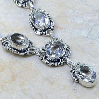 TPZ-099 - COLLIER, SAUTOIR, PARURE avec TOPAZE Blanche cristal - monture argent 925  - 147 carats 29,4 gr
