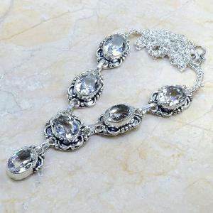 Tpz 099d collier sautoir parure topaze blanche cristal bijou argent 925 vente achat