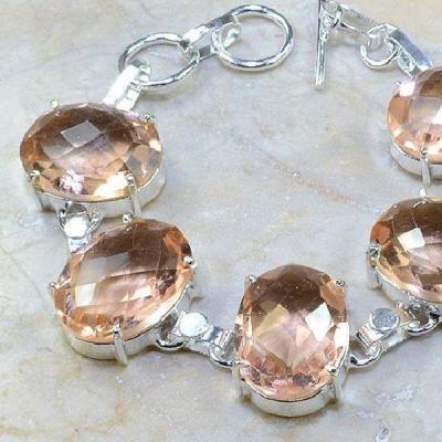 Tpz 106b bracelet topaze peche rose bijou argent 925 vente achat