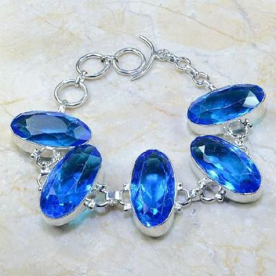Tpz 108a bracelet topaze bleu iolite bijou argent 925 vente achat