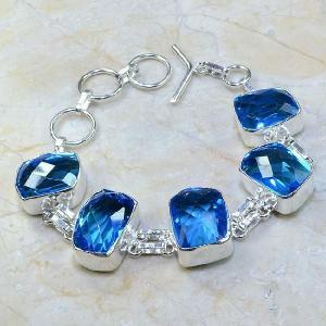 Tpz 109d bracelet topaze bleu iolite bijou argent 925 vente achat