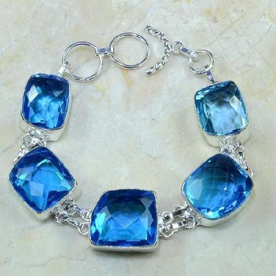 Tpz 110a bracelet topaze bleu iolite bijou argent 925 vente achat