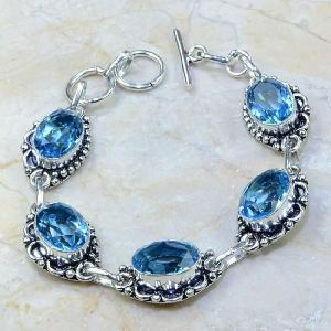 Tpz 111a bracelet topaze bleu iolite bijou argent 925 vente achat