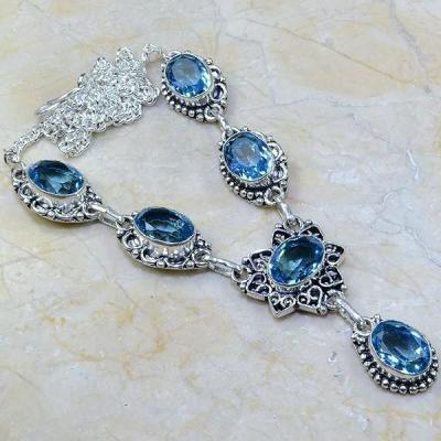 Tpz 112a collier parure sautoir topaze bleue suisse bijou argent 925 vente achat
