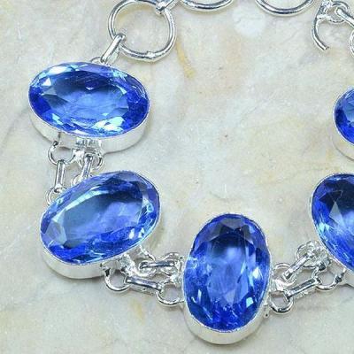 Tpz 117b bracelet topaze bleu iolite bijou argent 925 vente achat