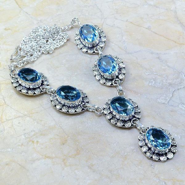 Tpz 119a collier parure sautoir topaze bleue suisse bijou argent 925 vente achat