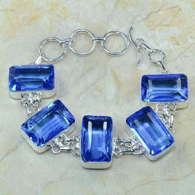 Tpz 120a bracelet topaze bleu iolite bijou argent 925 vente achat