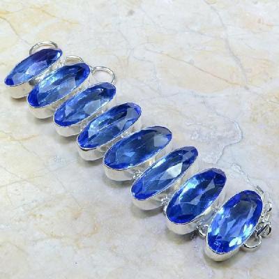 Tpz 121a bracelet topaze bleu iolite bijou argent 925 vente achat