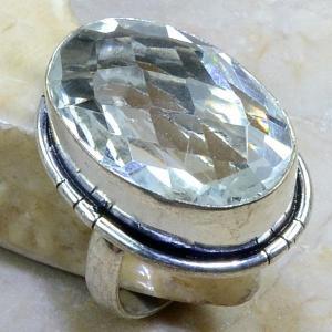 Tpz 122b bague t57 topaze blanche cristal bijoux argent 925 vente achat