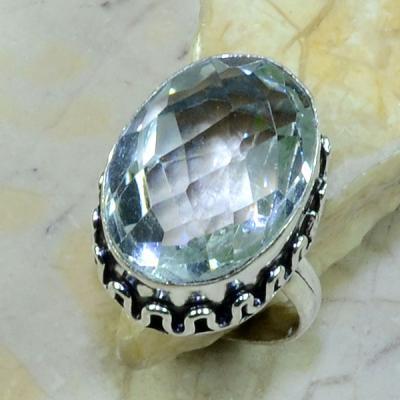 Tpz 123a bague t59 topaze blanche cristal bijoux argent 925 vente achat