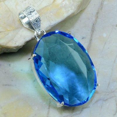 Tpz 136a pendentif pierre topaze bleue gemme taille bijou argent 925 vente achat