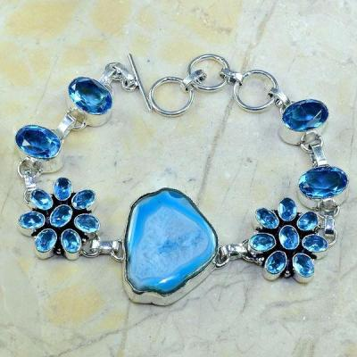 Tpz 140a bracelet topaze bleu suisse agate bijou argent 925 vente achat