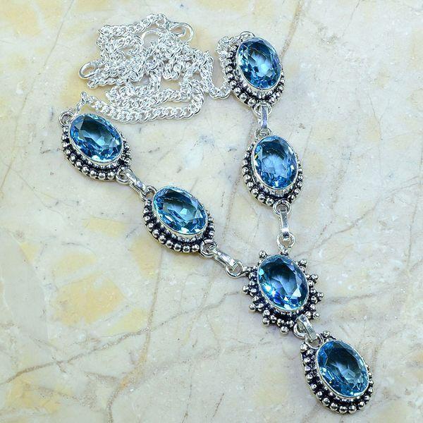 Tpz 141a collier parure sautoir topaze bleue suisse bijou argent 925 vente achat