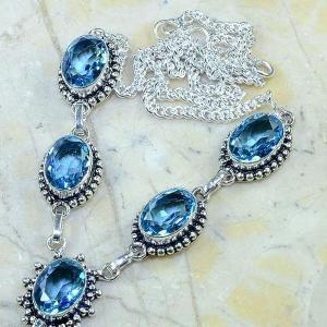Tpz 141b collier parure sautoir topaze bleue suisse bijou argent 925 vente achat
