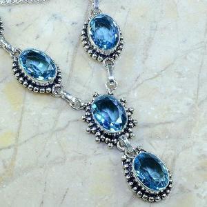 Tpz 141c collier parure sautoir topaze bleue suisse bijou argent 925 vente achat