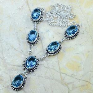 Tpz 141d collier parure sautoir topaze bleue suisse bijou argent 925 vente achat