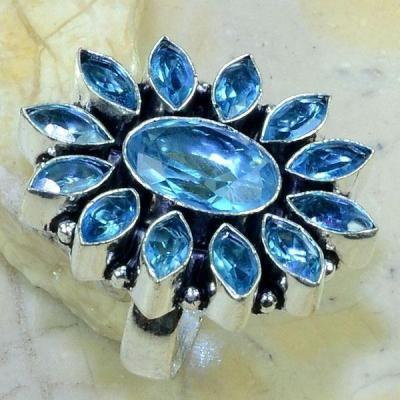 Tpz 145c bague t60 topaze bleue suisse bijoux argent 925 vente achat 1