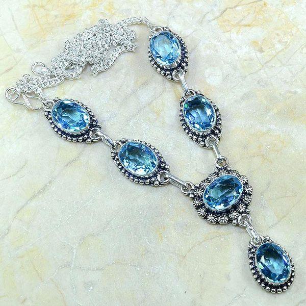 Tpz 149a collier parure sautoir topaze bleue suisse bijou argent 925 vente achat