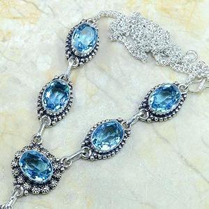 Tpz 149b collier parure sautoir topaze bleue suisse bijou argent 925 vente achat