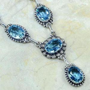 Tpz 149c collier parure sautoir topaze bleue suisse bijou argent 925 vente achat