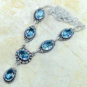 Tpz 149d collier parure sautoir topaze bleue suisse bijou argent 925 vente achat