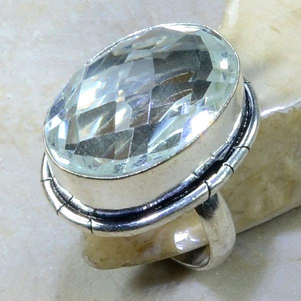 Tpz 152a bague t57 topaze blanche cristal roche bijoux argent 925 vente achat